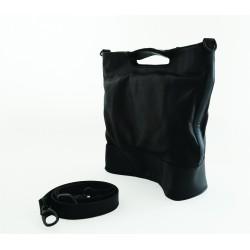 Rectangular black leather bag
